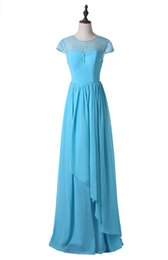 Real Photo 2019 Cheap Prom Dresses Cap Sleeve Jewel Neck Long Blue Lace Chiffon Party Gowns Zipper Back Custom Made P178