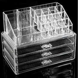 Wholesale New Makeup Cosmetics Jewelry Organizer Clear Acrylic Drawer Grid Display Box Storage Holder