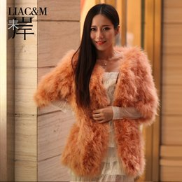 Wholesale Liac amp m orange ostrich wool long design fur coat women s turkey wool