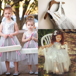 Cheap 2016 Lovely Sliver Girl's Flower Dress Sequined Ribbon Tulle Ball Gown Princess Ankle-Length Girl's Dresses flower girl dresses gowns