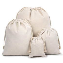 Canvas Drawstring Pouches 100% Natural Cotton Laundry Favor Holder Fashion Jewelry Pouches
