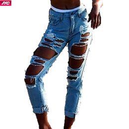 Wholesale Summer Capris Ripped Jeans With Holes Vintage Women Denim Jeans Pants Big Hole Denim Trousers Skinny Womens Jean Pants