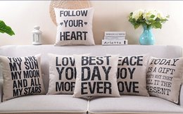Wholesale Vintage Style English Letters LOVE TODAY IS A GIFT BEST DAY EVER Cushion Covers Decorative Linen Cotton Pillow Cover Sofa Seat Pillow Case