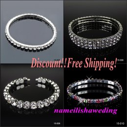 Wholesale Discount Cheap Row Rhinestone Bridal Jewelry Sets Bling Silver plated Stretch Bangle Bridesmaid Bracelet Wedding Accessories Body Chain