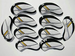 Wholesale Rbladez Printing set Golf Irons HeadCovers Neoprene Golf clubs Head covers Two Tones Golf irons protector White Black