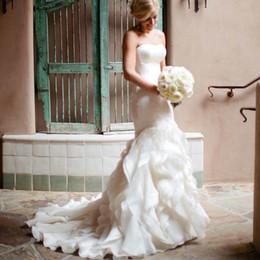 Wholesale Luxury Ruffles Organza Mermaid Wedding Dresses vestidos de novias Sweetheart Neckline Designer Bridal Gowns buy direct from china