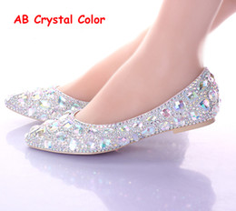 Wholesale Flat Heels Pointed Toe AB Crystal Wedding Shoes Silver Dancing Flats Performance Show Women Dress Shoes Bridal Bridesmaid Shoes