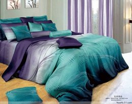 Wholesale stars Hot Beautiful Cotton Comforter Duvet all set as picture with curtain QUEEN KING bedding set blue purple stripe
