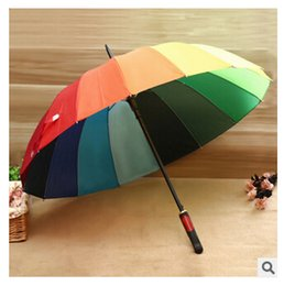 Wholesale Rainbow Umbrella High Quality K Golf Umbrella Automatic Long handle Umbrella Sunny Rainy Pongee Rainbow Color Umbrella m722