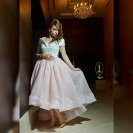 Wholesale High Quality High Low Prom Dresses A Line Off The Shoulder Pearls Evening Gown With Short Sleeves Organza Formal Dress