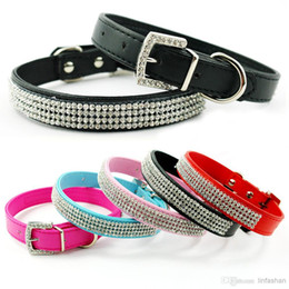 14-18 inch Mixed colors Bling Rhinestone Dog Collars Puppy Leather Pet Collars with Dimante Buckles