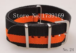 Wholesale-Hot sale ! 1PCS High quality 24MM-2black-orange- Nylon Watch band NATO straps waterproof watch strap