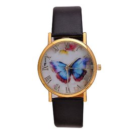 Wholesale TGJW718 New butterfly painting simple design watches fashion British style PU Leather Band Quartz watches
