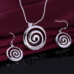 High grade 925 sterling silver Smooth spiral piece jewelry sets DFMSS628 brand new Factory direct sale wedding 925 silver necklace earring