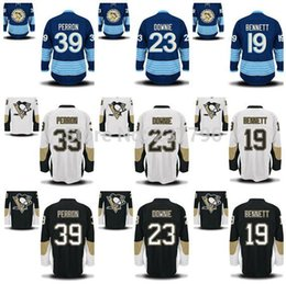 Male Pittsburgh Penguins 2017 stanley cup final champions patch David Perron Beau Bennett Steve Downie Ice Hockey Jerseys Black Blue White