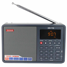 Wholesale TECSUN ICR FM MW Radio REC Recorder MP3 WAV Player Battery Gray Y4150H