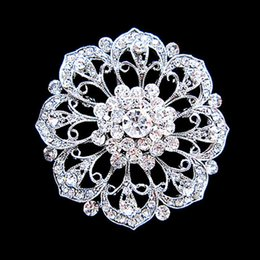 Rhodium Silver Plated Mix Color Crystal Rhinestone Beautiful Round Flower Brooches and Pins For Wedding Bouquet