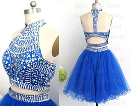 Two Pieces Prom Gown Tulle Crystal Special Occasion Dresses Crystal Mini Prom Dresses Halter With Crystals Royal Blue Formal Gown