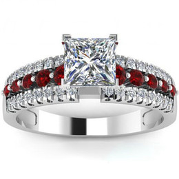 Wholesale Size to Wedding Ring Rhodium Plated Cubic Zirconia Ruby Engagement Princess Cut Party School