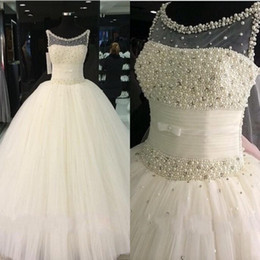 Newest Wedding Dresses 2016 Sheer Pearls Beading Ball Gown Pleats Tulle Sweep Train Bridal Gowns Custom made