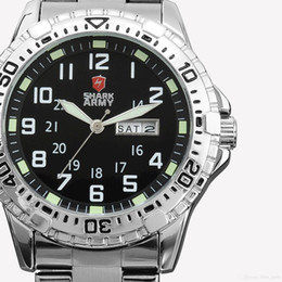 Wholesale SHARK ARMY Date Day Calendar Silver Stainless Full Steel Watches Black Mens Military Sport Running Gift Wrap Quartz Watch SAW018