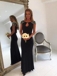 2016 Black Keyhole Mermaid Long Bridesmaid Dresses Evening Dresses Beaded Crystal Sequins Capped Sleeve Party Prom Dresses Formal Outfits