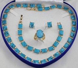 Anillo libre del pendiente de la pulsera del collar de la turquesa del envío fijado desde pendientes de turquesa juego de anillos fabricantes