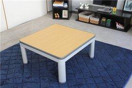 Wholesale Foldable Legs Heated Table Top Reversible White Yellow Living Rooom Japanese Kotatsu Foot Warmer Floor Table Low Heated Coffee Table cm