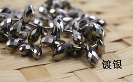100pcs 6mm x 12mm silver plating Quartz Faceted Crystal Glass Teardrop Beads Crystal Jewelry Loose Beads DIY free shipping