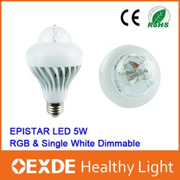 Wholesale Hot LED Bulbs Entertainment Christmas Lamp SMD W V V E27 W RGB Night Lights Color Changing Rotating oexde solar