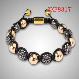 jewelry factory!Nialaya Individuality Best bracelets shamballa gold alloy cool dill Weave adjust High-grad Copper Beads bracelets ZXF8317