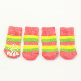 Wholesale Armi store Yellow Green Powder Rainbow Stripes Latex Skid Proof Dog Socks For Pet Clothes M L Size