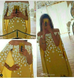 Charming Yellow Prom Dresses Cloak Watteau Train Party Formal Evening Gowns 2015 Occasion Dress Mermaid Off-Shoulder Long Crystal Celebrity