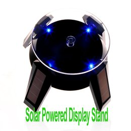 Freeshipping Solar Powered Jewelry Phone Watch Rotating Display Stand Turn Table with LED Light Black,Dropshipping Wholesale
