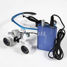 Wholesale 2015 Dental Dentist Surgical Medical Binocular Loupes X Optical Glass Loupe LED Head Light Lamp Blue