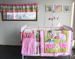 Wholesale Stereo embroidery Monkey Climb up tree Crib Cot Bedding Set Quilt Bumper bedskirt Mattress Cover baby bedding sets
