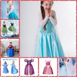 Cenicienta niños vestido del partido en venta-La venta entera de la princesa ropa congelada Elsa vestidos de la princesa Ana Baby traje de Cosplay del partido de la Cenicienta vestido de Elsa vestidos baratos de la nieve vestido blanco