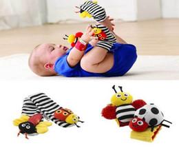Chaussettes lamaze hochet à vendre-Bébé chaussettes poignet hochet pied finder jouets pour bébé Baby Rattle Chaussettes Lamaze Peluche hochet + Baby Foot Chaussettes D64 de 10lots