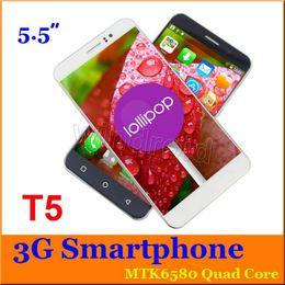 Le moins cher 50 T5 5,5 pouces MTK6580 Quad core 4 Go Android 5.1 960 * 540 Dual SIM 3G WCDMA Smartphone débloqué Téléphone mobile Geste de secours Cas gratuit à partir de double t5 fabricateur