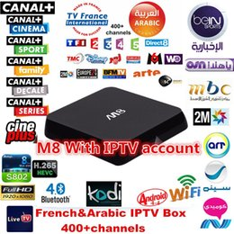 Wholesale 4 Pieces DHL Free French Arabic IPTV M8 Android TV Box Free channels APK Account included wireless mini keyboard