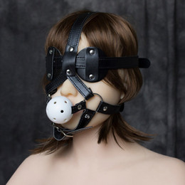 Wholesale sexy costume Leather Head Harnesses Fetish Muzzles Mouth Ball Gag with Blindfold Silence Ballgags Sex Adult