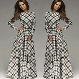 Women's Clothing spring and autumn plaid plus size maxi dress long sleeves casual Vintage cotton dresses