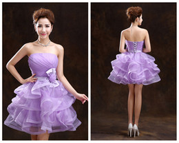Wholesale Back to School Short Prom Dresses Big Bow Lace Up Cocktail Party Ball Gown A Line Strapless Ruffle Organza Short Mini Homecoming Dress