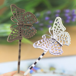 (50 pieces lot) Butterfly base silver antique bronze vintage hairpin pad setting cy191