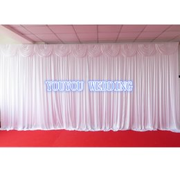 White 3m H * 6m L Shine knit Wedding Backdrop Curtain With Swag For Banquet,Hotel,Party,Event Place Decoration Use