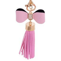 Charm PU Leather Flower Tassel Pendant Mobile Bag Key Chains Bag Accessories