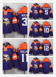 Wholesale 3 Blair Walsh Teddy Bridgewater Fran Tarkenton Mike Wallace Charles Johnson Blank Men Sweatshirts Winter Jacket Embroidery Logos