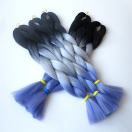 Synthetic Jumbo Braiding Hair Folded length 24inch 100g Black&Gray&Light Purple Ombre Three Tone Color Crochet Braids Hair Extensions