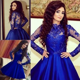 Long Sleeve Homecoming Dresses Sheer Neck A Line Crew Short party dress Arabric Dubai Royal Blue Prom Gowns With Applique Lace