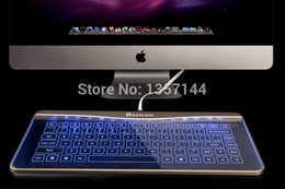 Wholesale New Arrival Bastron Glass Touch Smart Keyboard for Apple Desktop with kinds of getures and Blue Pink LED backlight